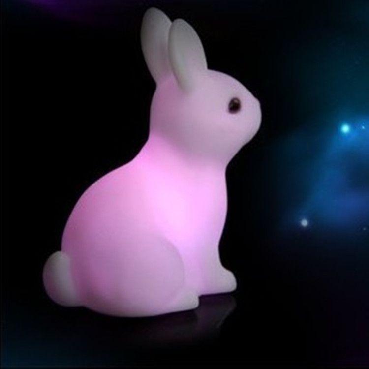 MKcat Color Changing Rabbit LED Night Light Animal Cartoon Decorative Lamp Adorable for Children Night Lamp Multi - Pack of 1