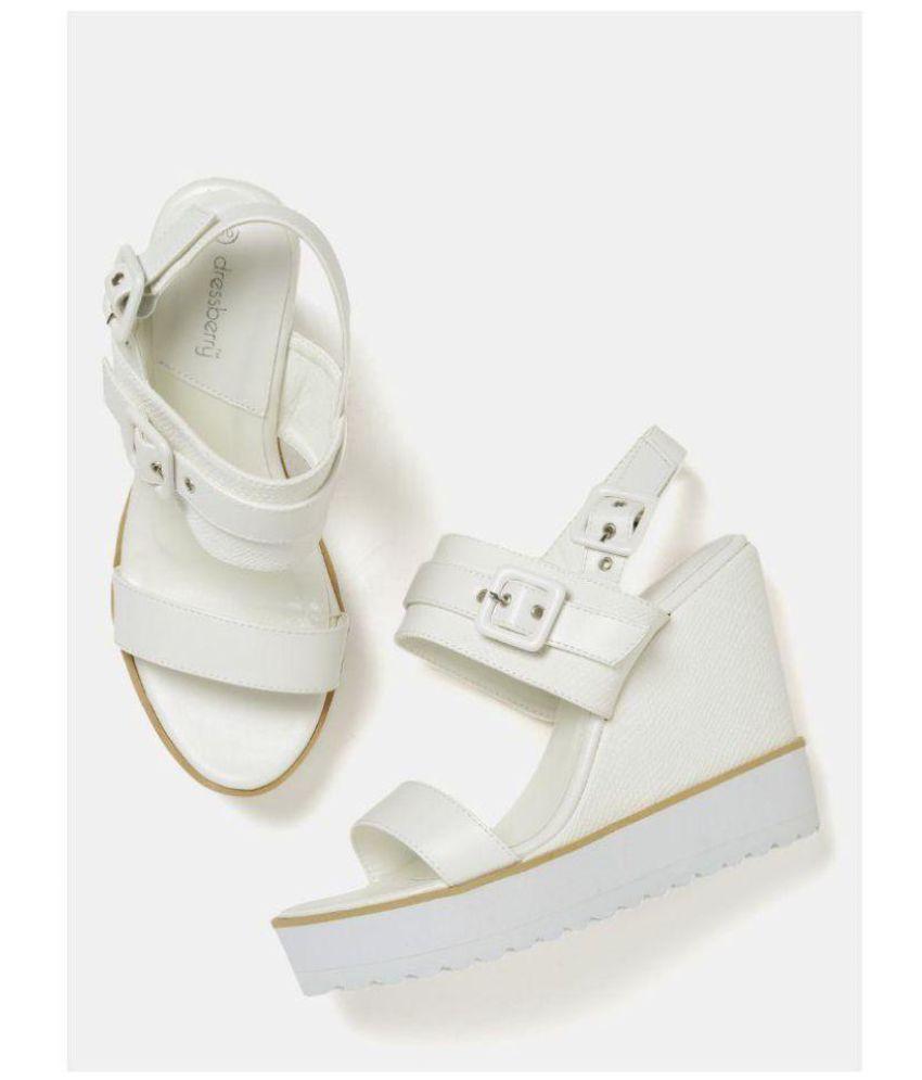 Dress Berry White Wedges Heels