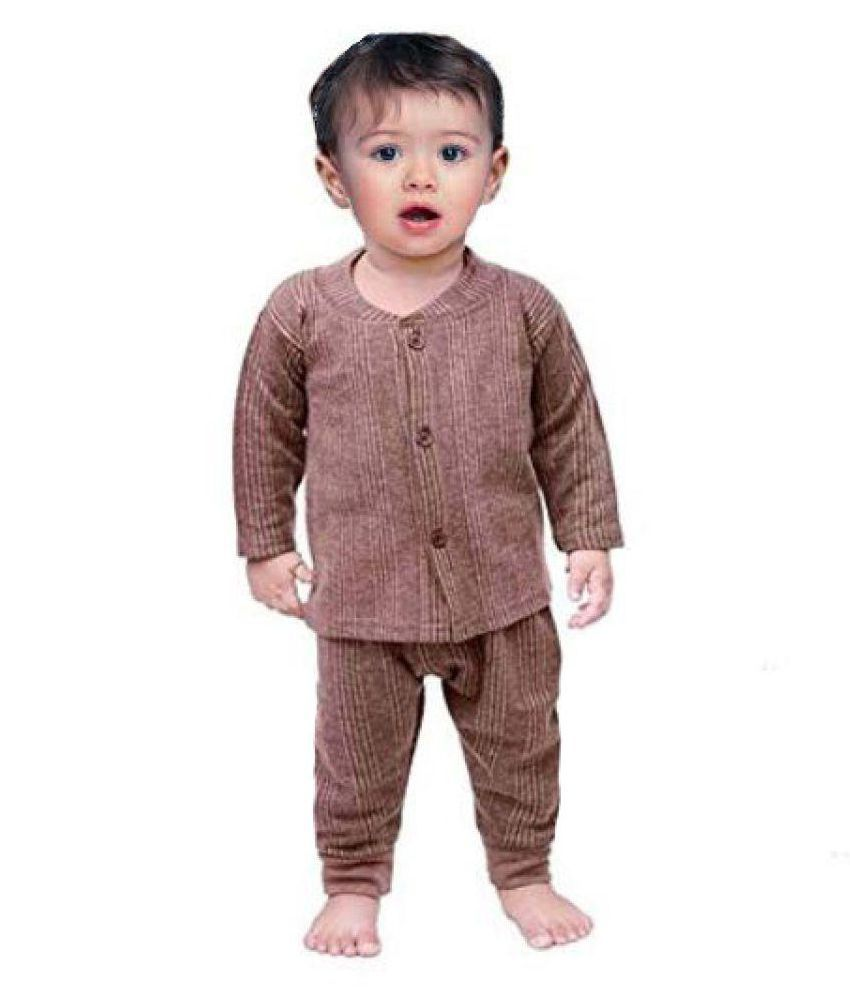 aee4741d9d4c ... Baby Comforts baby winter wear Front open thermal suit or top bottom  set of pajam ...