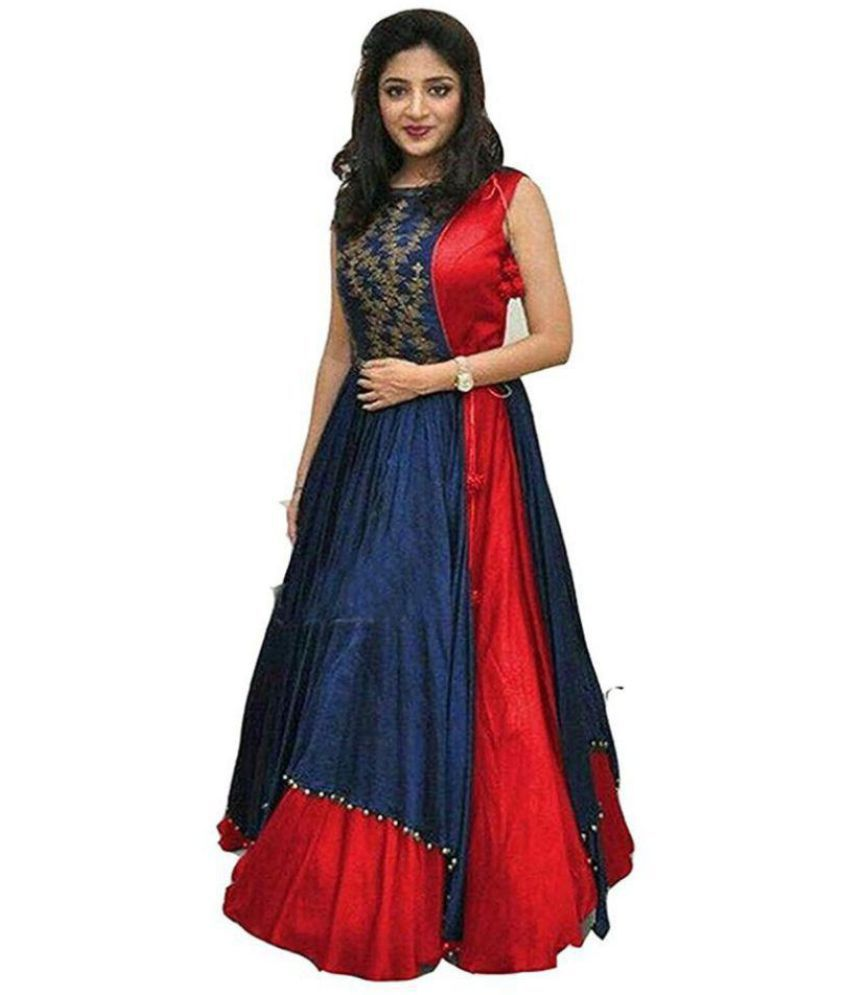 Ved Fashion Red Cotton Double Layered Kurti