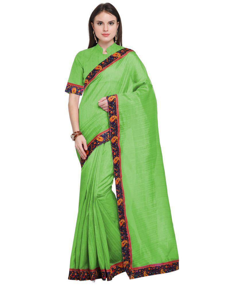 Vkaran Green Bhagalpuri Silk Saree