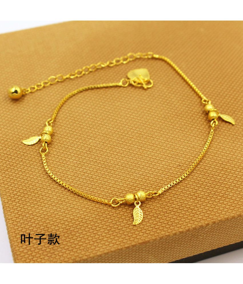 Copper Plated Vietnamese Vietnamese Gold Medal Accessories Version Simple Long No Fading Bell Tassel Goldfish Anklet