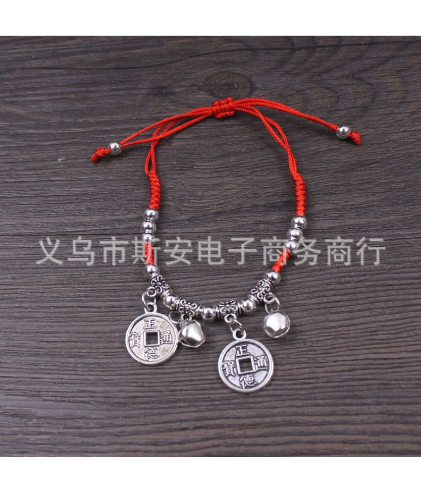 D Knitted Red String Bracelet Out Of Safety Long Life Lock Bracelet Anklet National Wind Tibetan Silver Jewelry