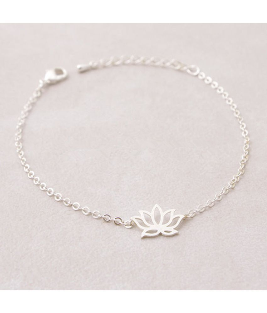 Fashion Jewelry Elegant Lotus Bracelet Alloy Electroplating Lotus Flower  Chain Chain