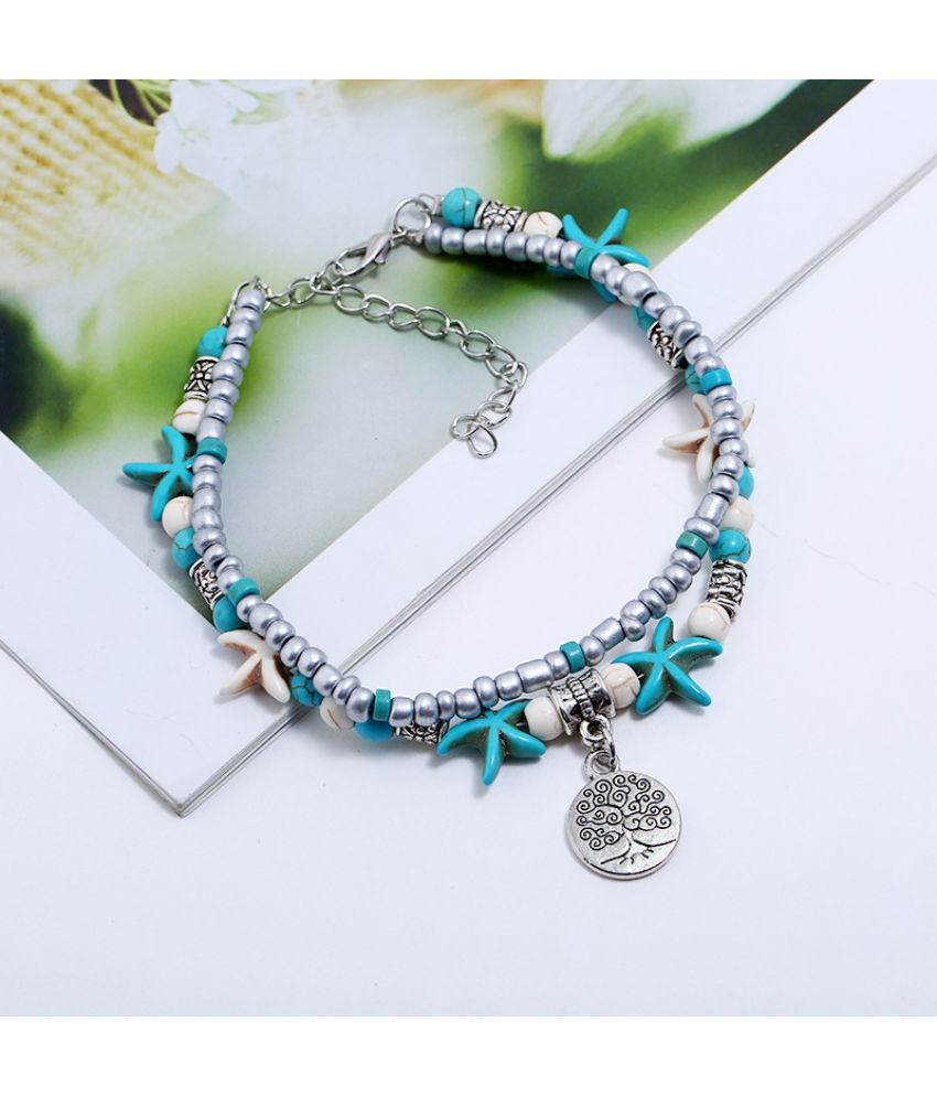 Fashion Multi Layer Turtle Jewelry Conch Starfish Rice Beads Yoga Beach D Ornaments Anklets Bracelets