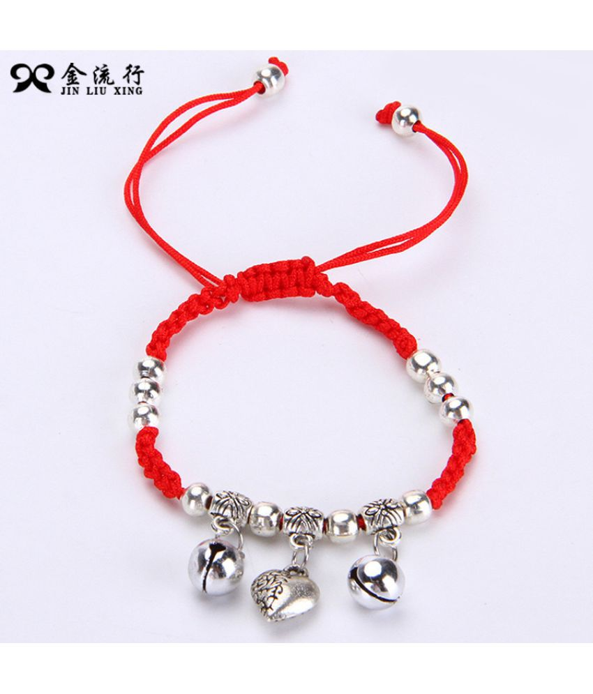 Gold Fashion Ornaments Dwoven Red Rope Bell Bracelet National Wind Imitation Silver Pisces Bracelet Chain