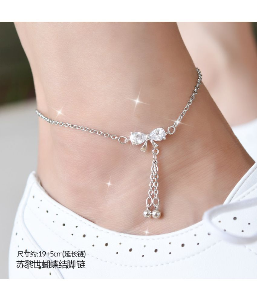 Japanese  Edition Pearl Artificial Zircon Anklets Girl Accessories Fine Bell Transport Bead Contracted Student'S Department