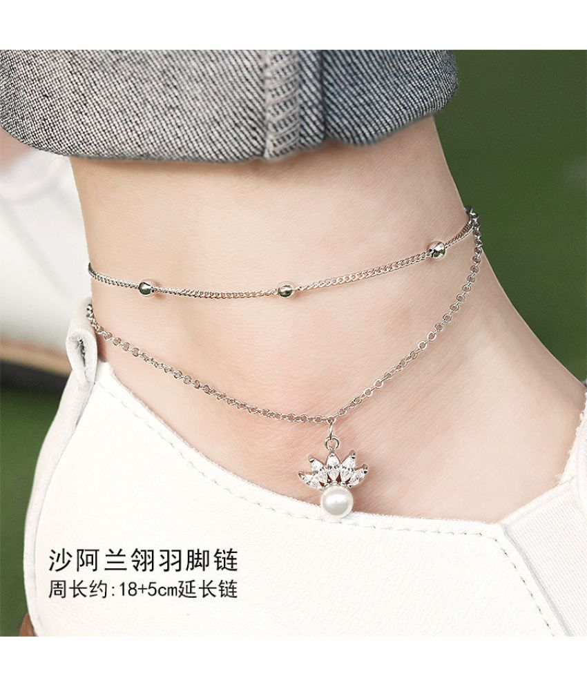 Japanese Version Of Pearl Artificial Zircon Foot Chain Girl Bell With Jewelry Fine Transfer Beads Simple Student Department