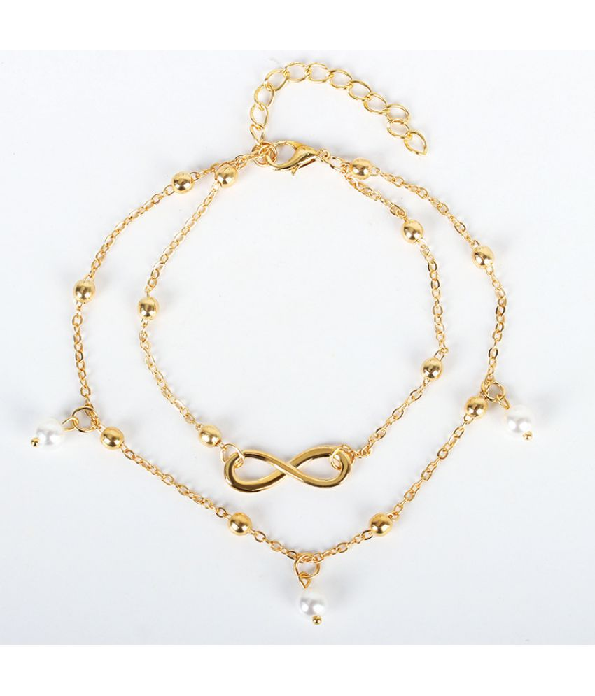 Korea Fashion Pearl 8 - Character Foot Chain Jewelry Female D Beaded Double Chain Foot Beach Foot Jewelry