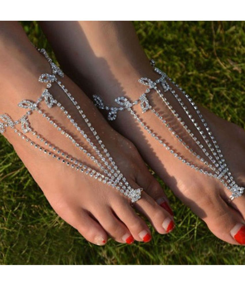 Popular Water Diamond Foot Chain Bracelet Fashion Jewelry Personality Bracelet  Sales 05