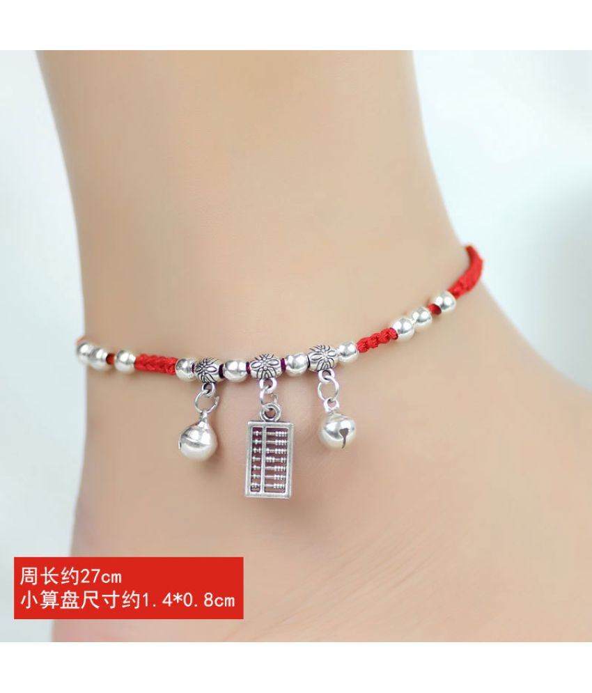 Red Rope Leash Benmingnian Transshipment Fashion Red Bell Rope Bracelet Students Four Girls Act Role Ofing Is Tasted Restore Ancient Ways