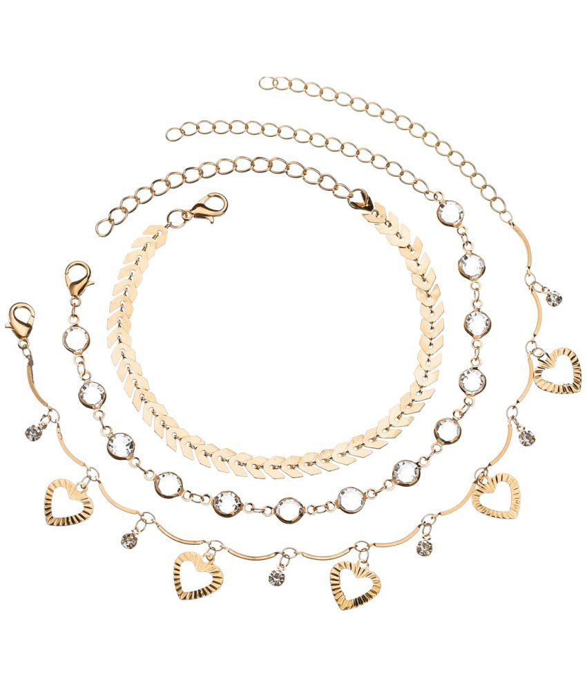 Summer Wild Fashion Jewelry Lady Five Pointed Star Anklet With Round Alloy Arrow Pin Three Pieces