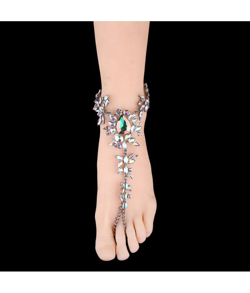 The  Is Designed For Of New Multi-Toe Chain Hyperbole Inlaid With Water Drill Color Bracelet Anklet Double-Use Foot Accessories