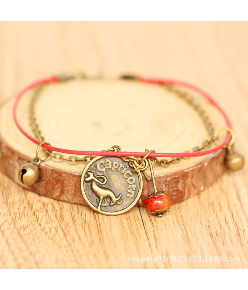 [Twelve Constellations] Anklets Women'S Nationalities Students' Dmade Bells National Wind Ceramics Trinkets