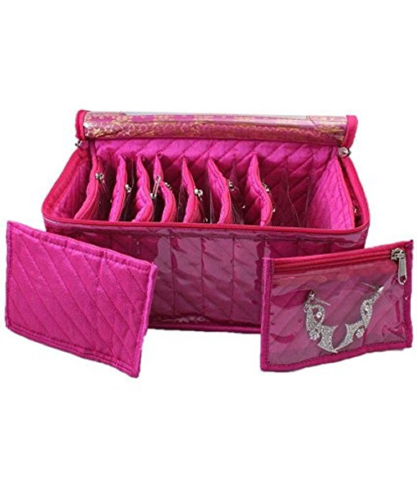 Foretrend Fabric 10 Transparent Pouches Jewellery Box