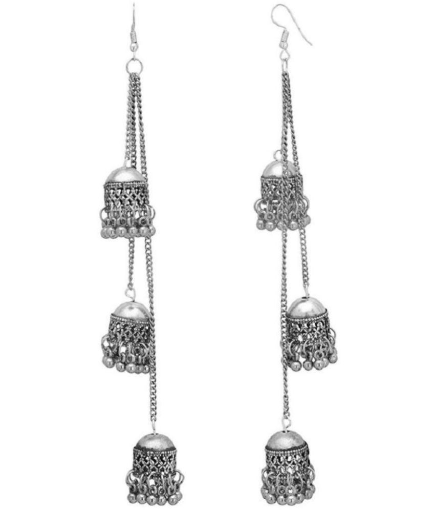 Tiptop Afghani Kashmiri Oxidized Silver Long Earrings.