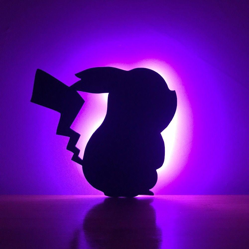 MKcat Pokemon Pikachu Figure Lampara Wall Night Light Shadow Projection Remote Control Lighting \n Night Lamp Multi - Pack of 1