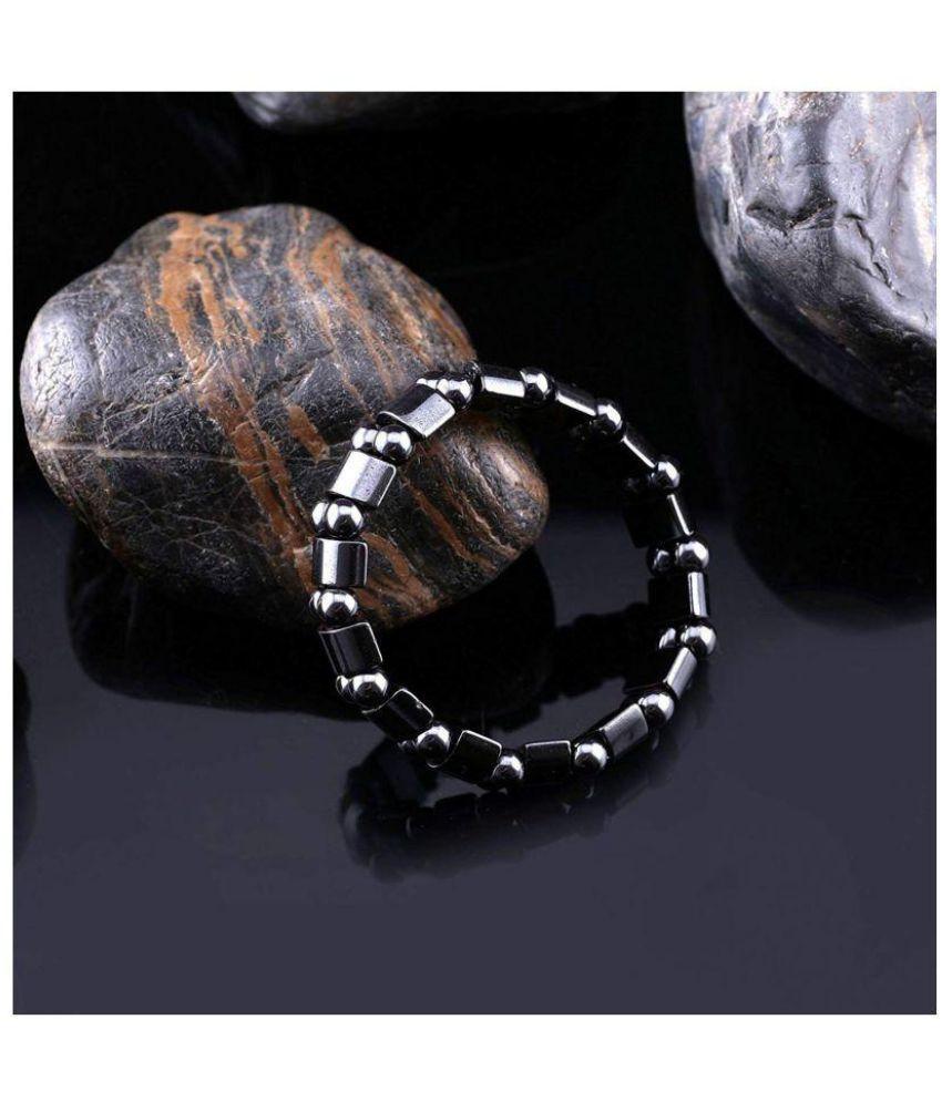 Rudra Divine Powerful Magnetic Bracelet for Blood Pressure control   Pain Releif   Effective Multi Magnet Hematite Bracelet