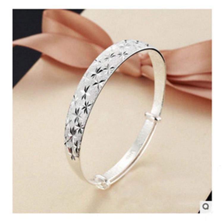 S925 Silver Alloy Push-Pull Hard Bracelet Female Flowers All Over Sky Star Wide Surface Silver Bracelet Silver Gift Certificate