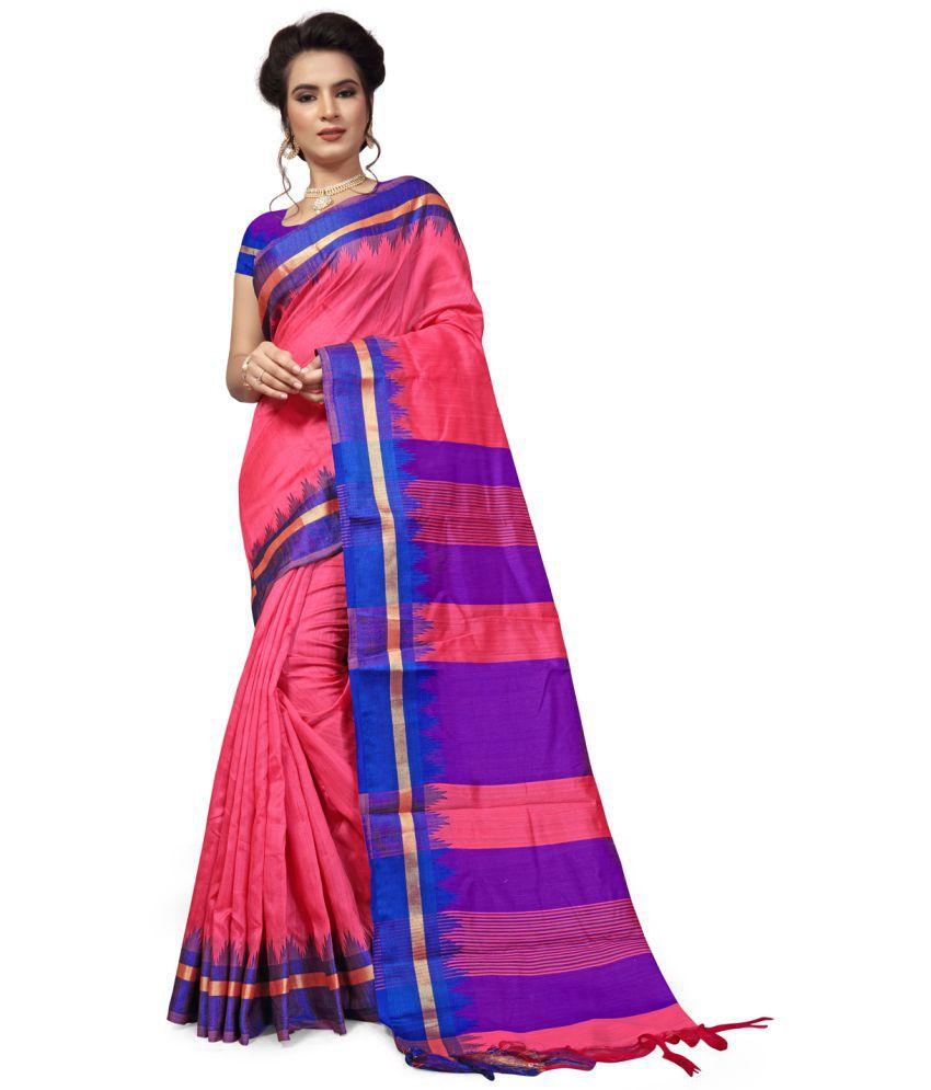 kiticadeal Pink and Purple Silk Saree