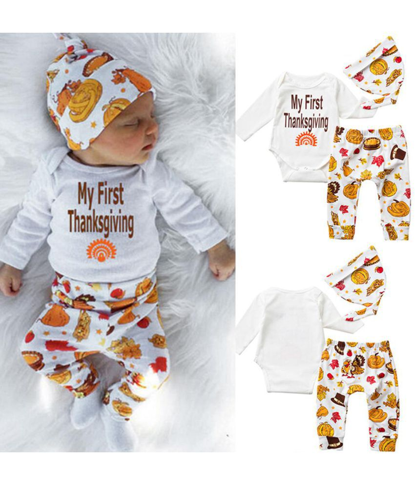 ad81571fc My First Thanksgiving Romper Cute Outfit Baby Newborn Boy Girl Cotton  Clothing ...