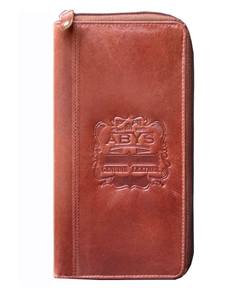 ABYS Brown Pure Leather Box Clutch