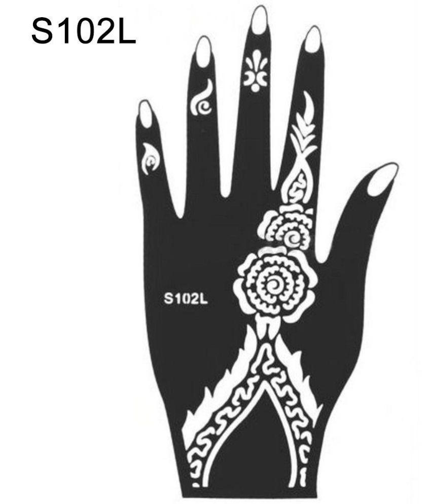 India Henna Temporary Tattoo Stencil Kit Man Women Hand Body Art ...