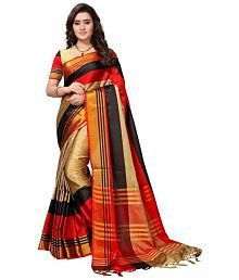 CRALLY Red and Brown Cotton Silk Saree