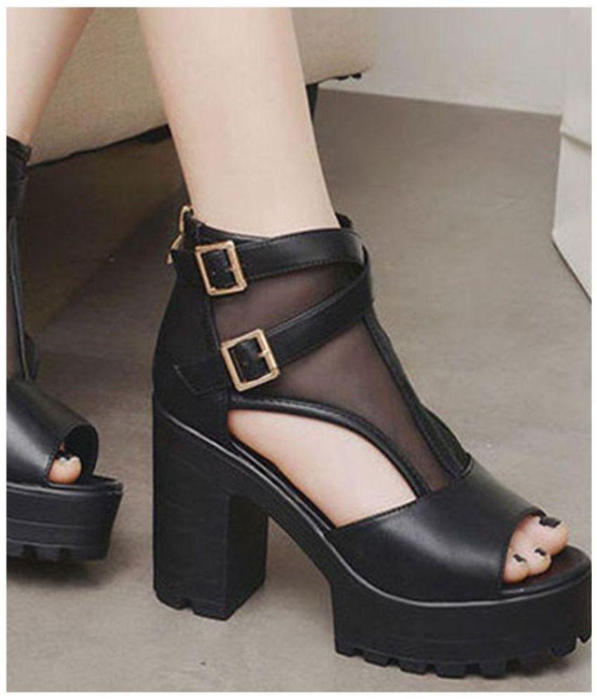 b31160cae6 Street Style Store Black Block Heels Price in India- Buy Street ...