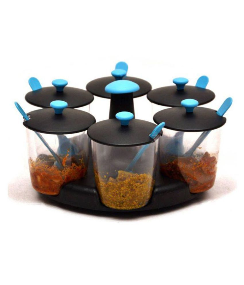 Jen 6 Jar Blue [Chutney , Achaar ] Dining Stand Polyproplene Pickle Container Set of 6