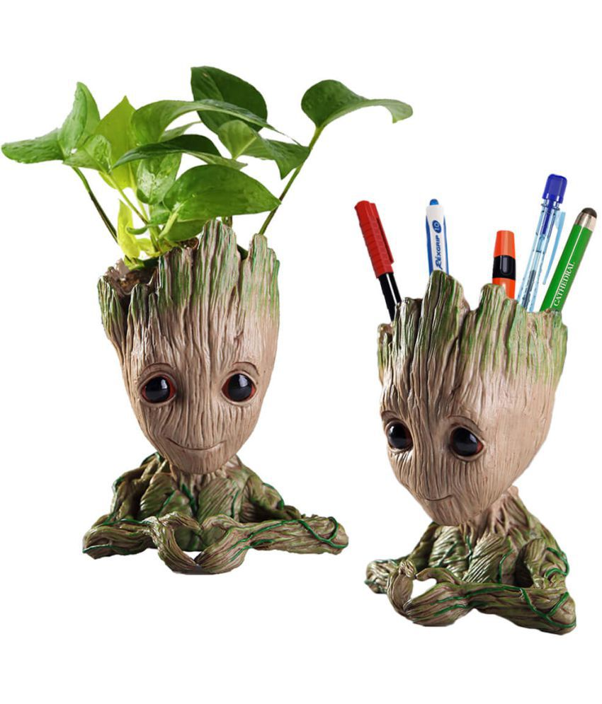 Marvel Avengers Infinity War Flower Pot Baby Groot Wooden Look Tree Flowerpot Pen Container Toy Gift Heart Design