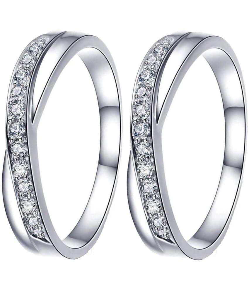 Parisha Jewells Rhodium Plated Exclusive Crisscross Toe rings pair with CZ stones TR0002