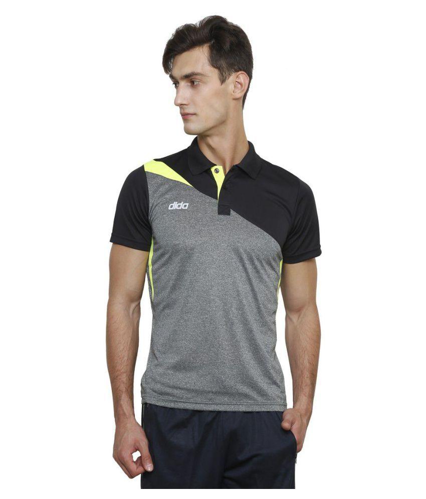 Dida Grey Polyester Polo T-Shirt
