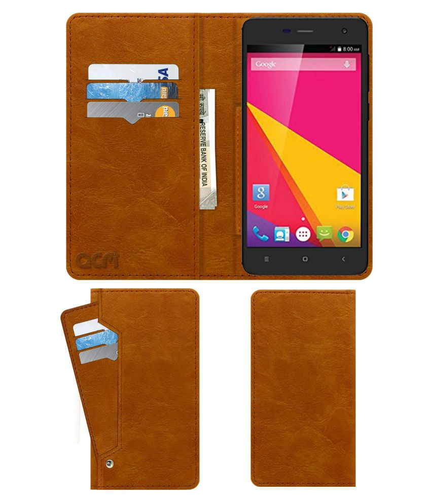 HYUNDAI HI 50 YOUNG Flip Cover by ACM - Golden Wallet Case,Can store 6 Card & Cash,Classic Golden
