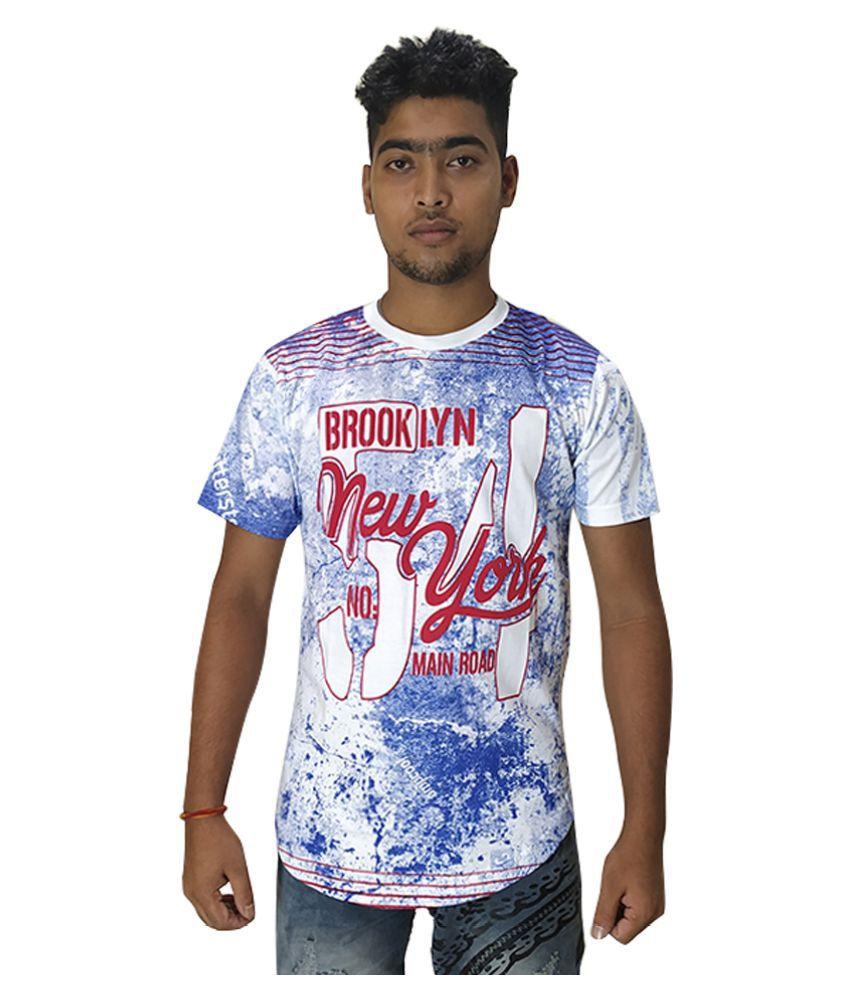 Purple Square White Half Sleeve T-Shirt Pack of 1