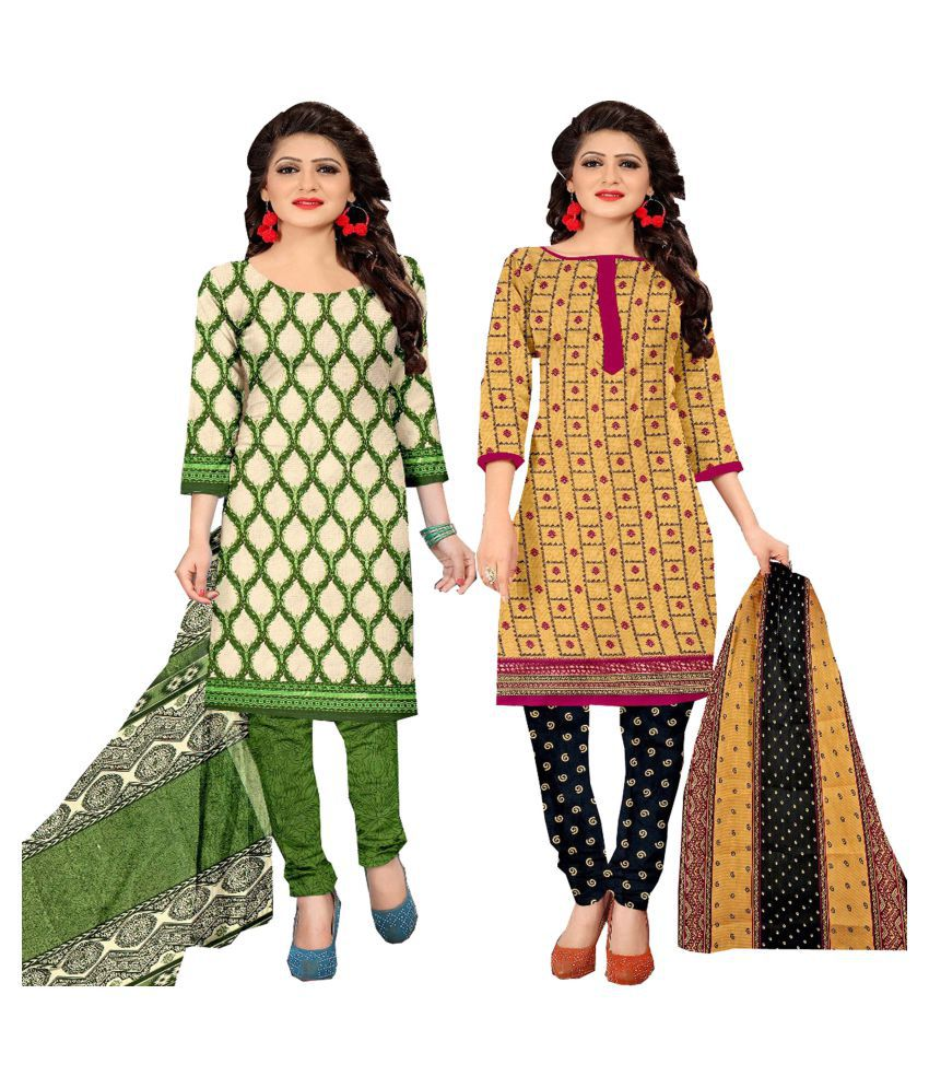 Rajnandini Beige and Black Cotton Dress Material