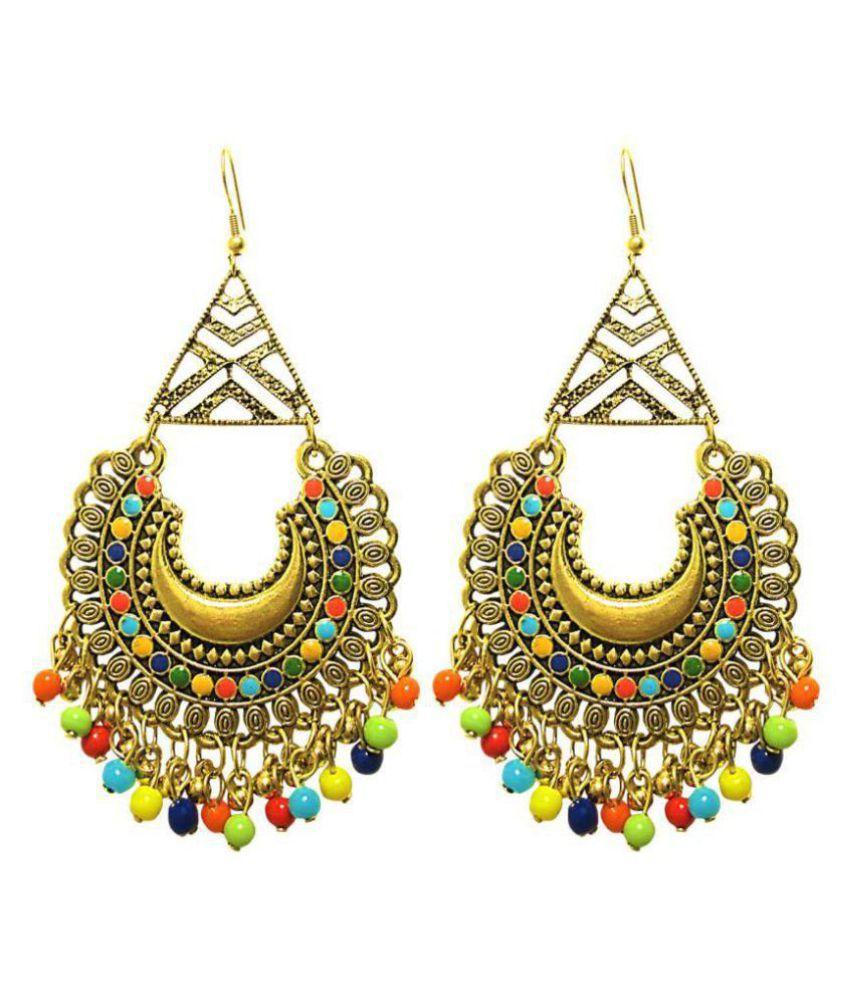 muccasacra Hot Trendy Kashmiri n Afghani Alloy, White Metal Dangle Earring Length 3.5 Inch