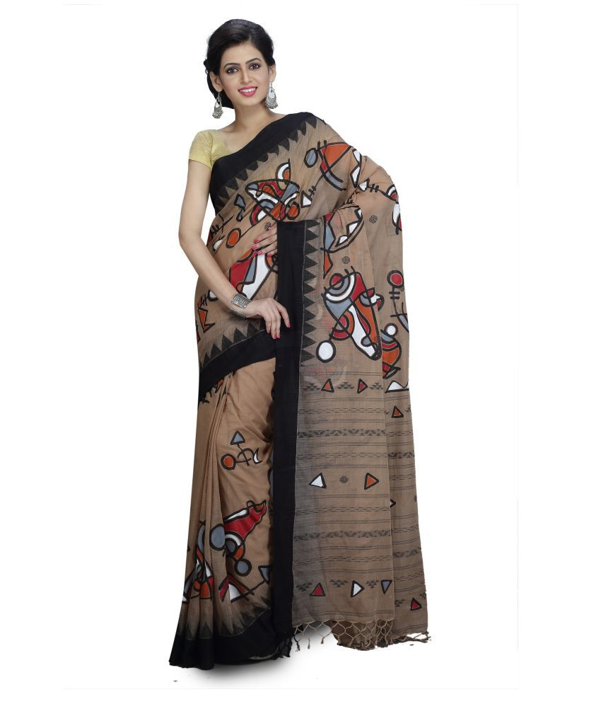 fablum Grey and Black Bengal Handloom Saree