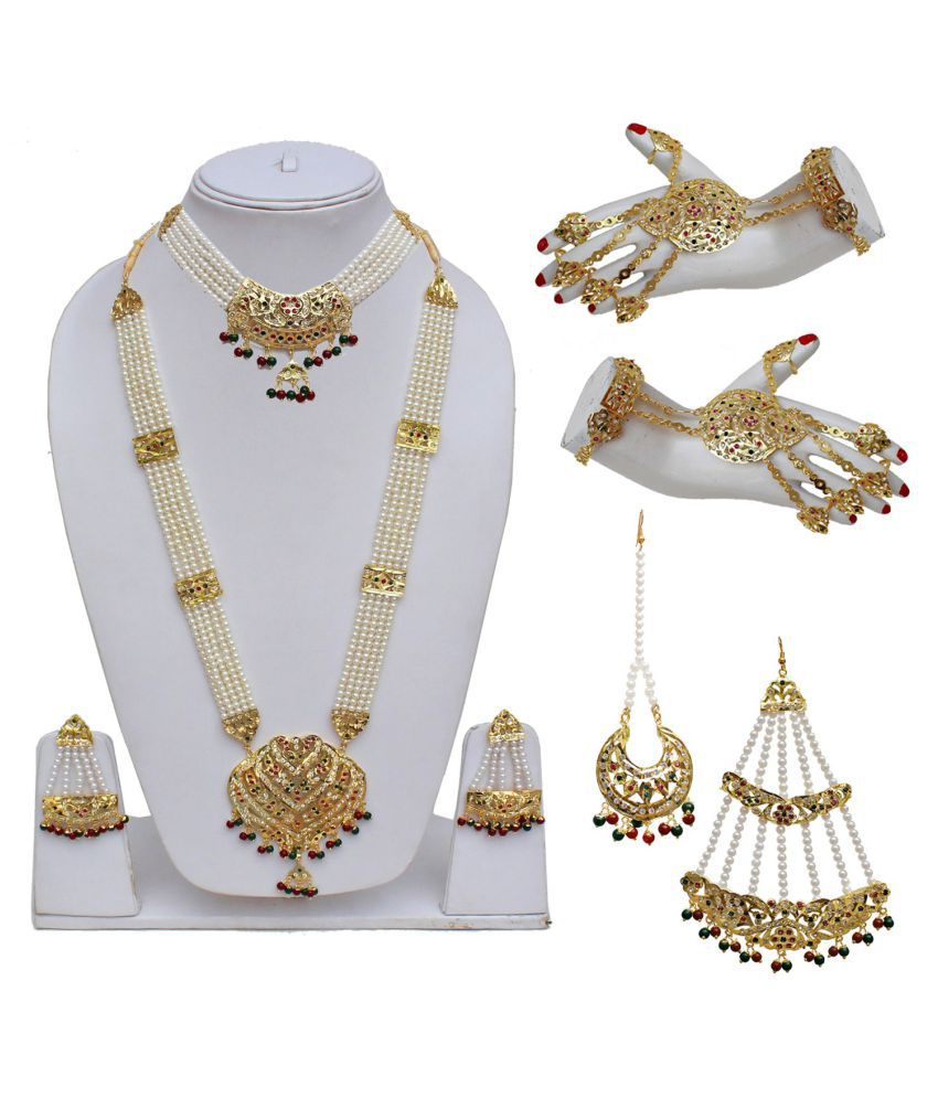 LUCKY JEWELLERY Alloy Multi Color Traditional Gold Plated Necklaces Set