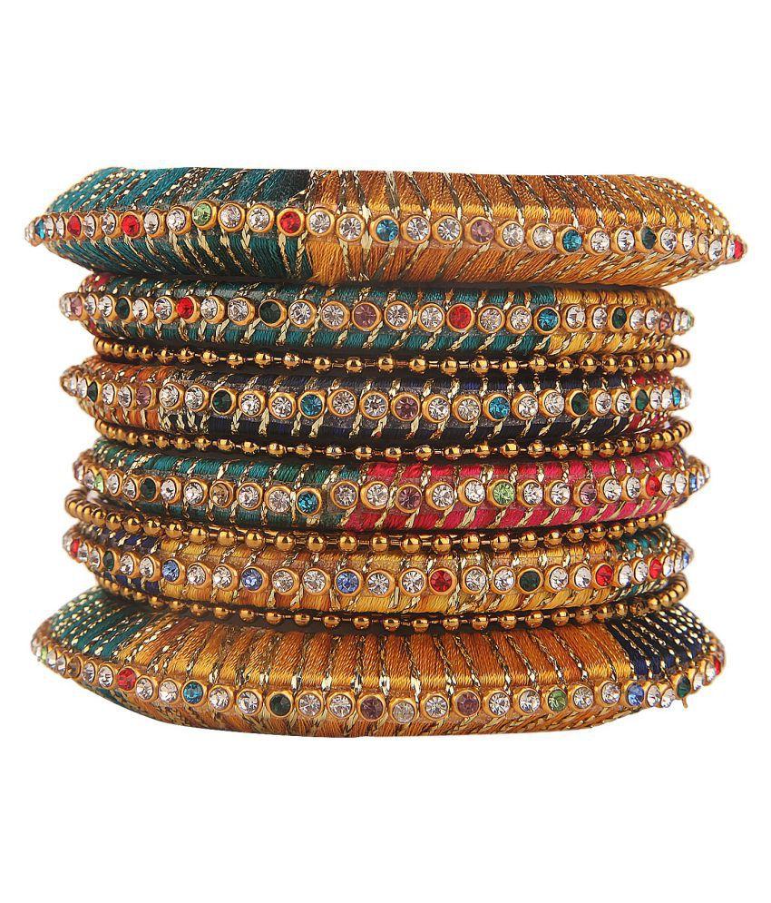 Efulgenz Fashion Stylish Fancy Party Wear Gold Plated Traditional Kundan CZ Multicolor Silk Thread Bangle Set Jewellery (10 pc)