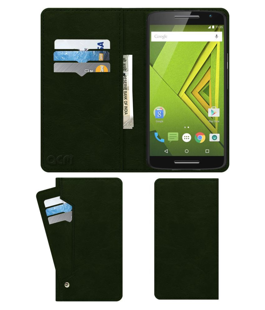 MOTOROLA MOTO X PLAY XT1562 Flip Cover by ACM - Green Wallet Case,Can store 6 Card & Cash,Teal Green