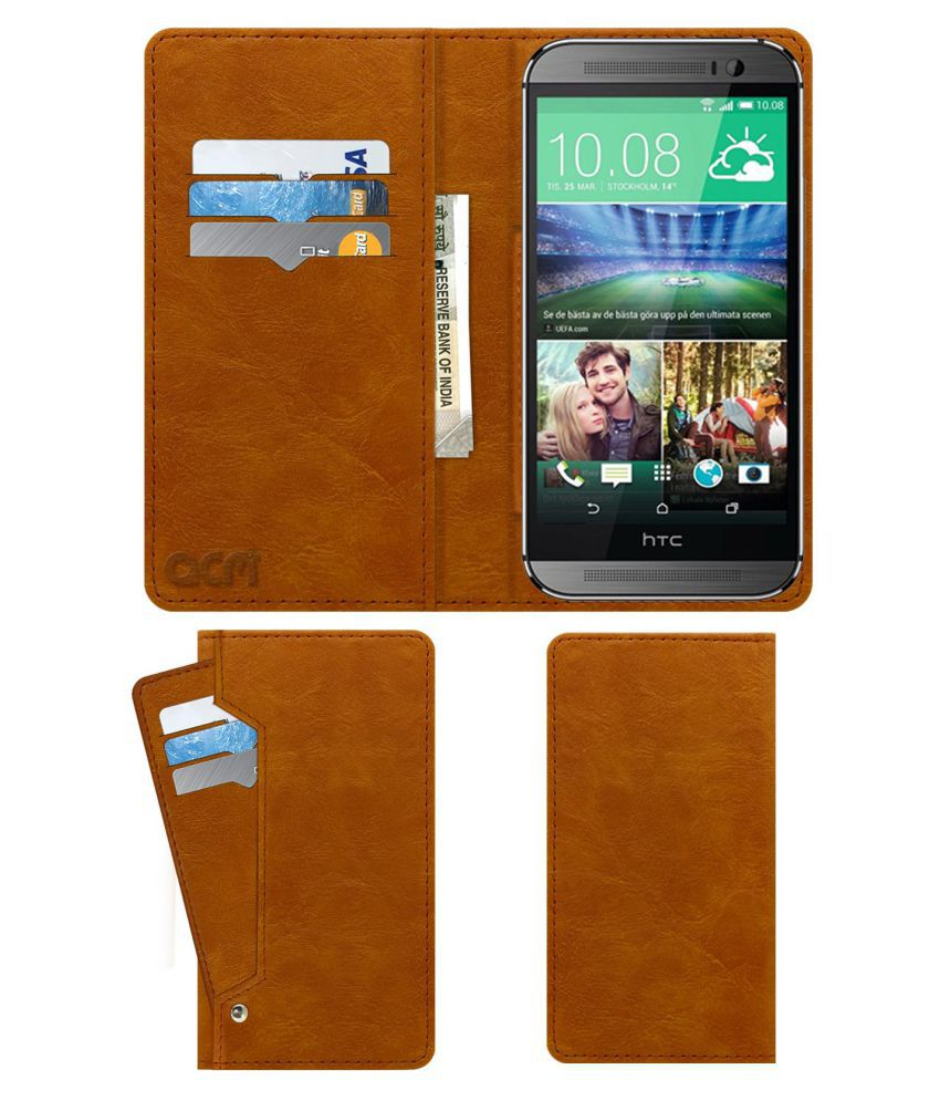 HTC One (M8 Eye) Flip Cover by ACM - Golden Wallet Case,Can store 6 Card & Cash,Classic Golden