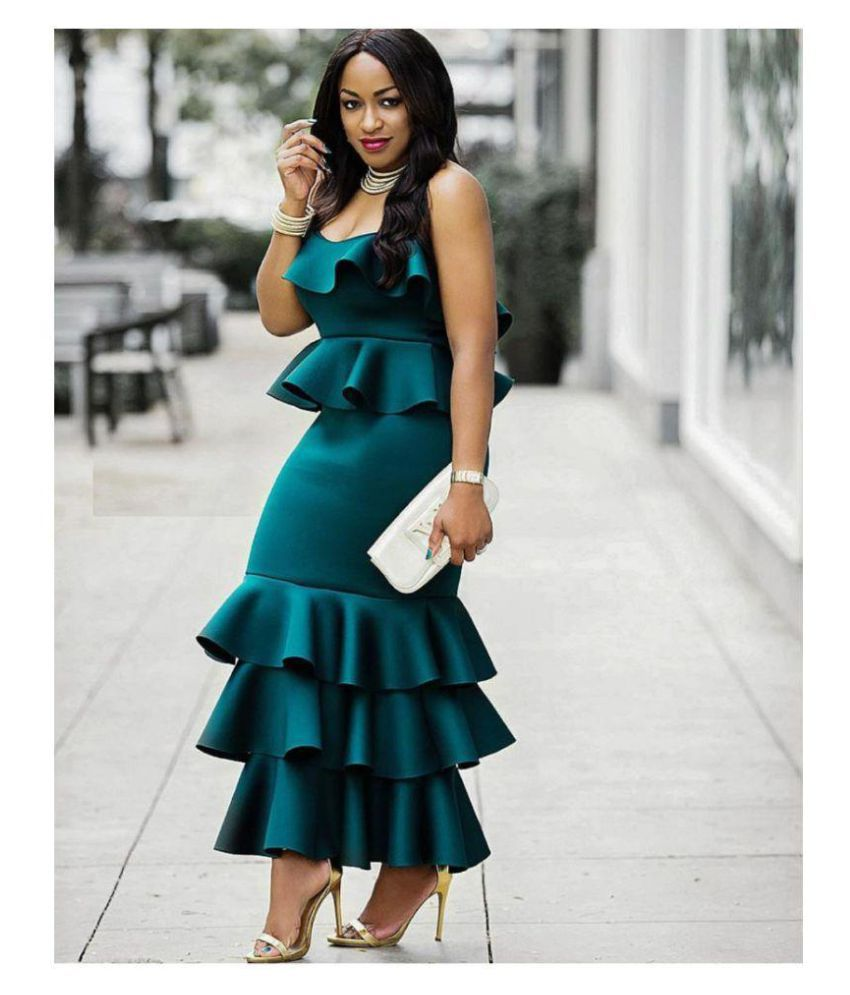 Imported Rayon Green Balloon Dress