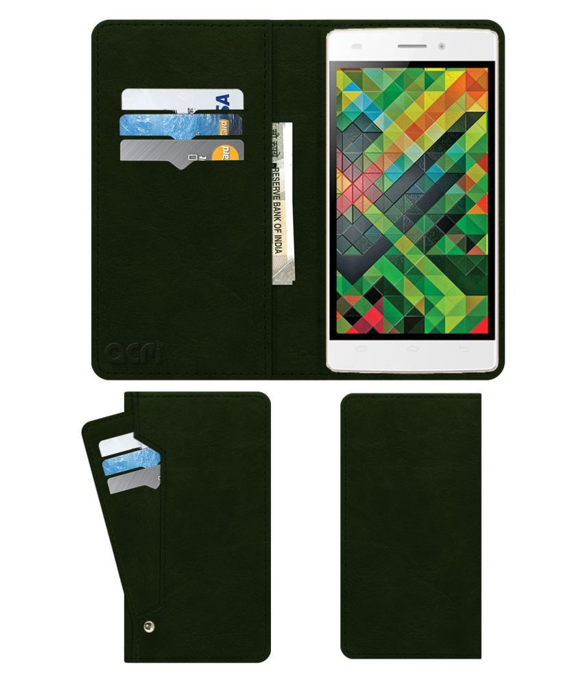 Intex Aqua Ace 2 Flip Cover by ACM - Green Wallet Case,Can store 6 Card & Cash,Teal Green
