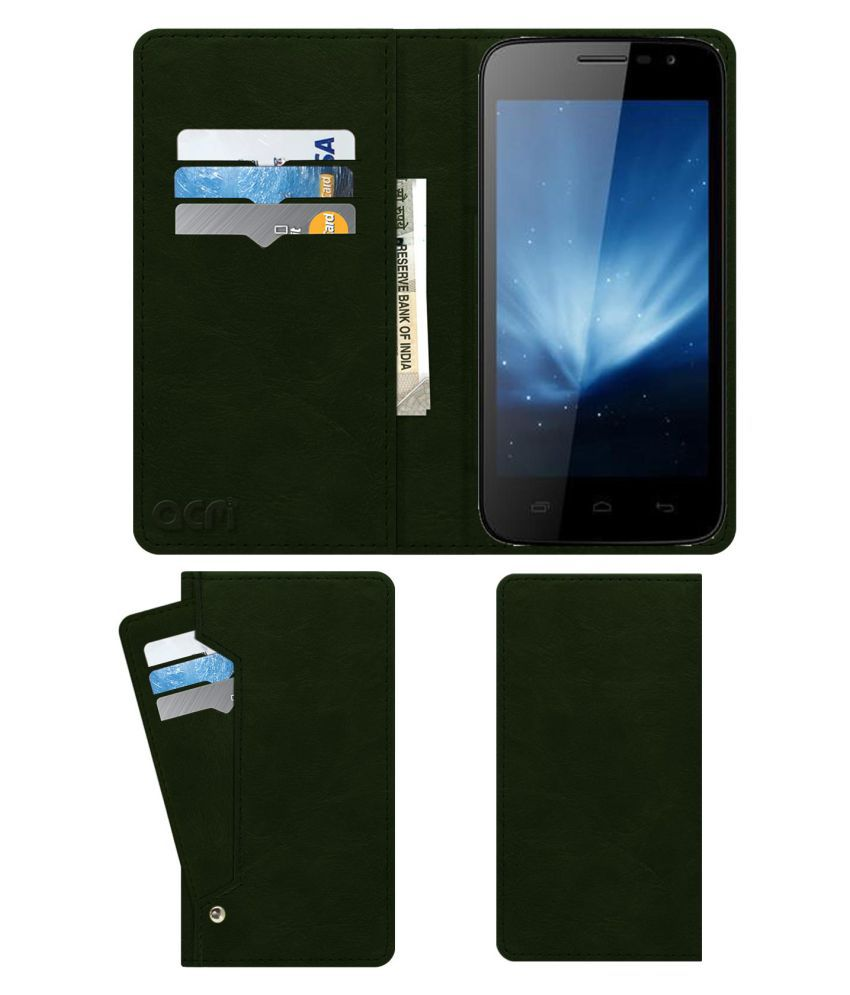 Karbonn A21+ Flip Cover by ACM - Green Wallet Case,Can store 6 Card & Cash,Teal Green