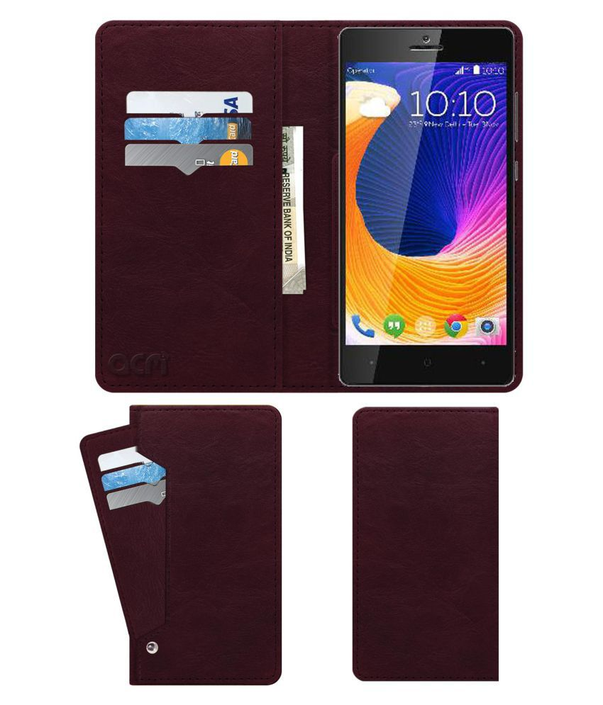 Kult 10 Flip Cover by ACM - Red Wallet Case,Can store 6 Card & Cash,Burgundy Red