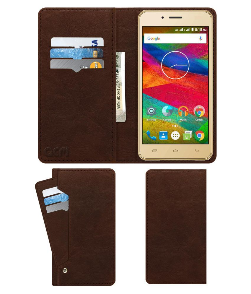 Trio V50DT Flip Cover by ACM - Brown Wallet Case,Can store 6 Card & Cash,Rich Brown