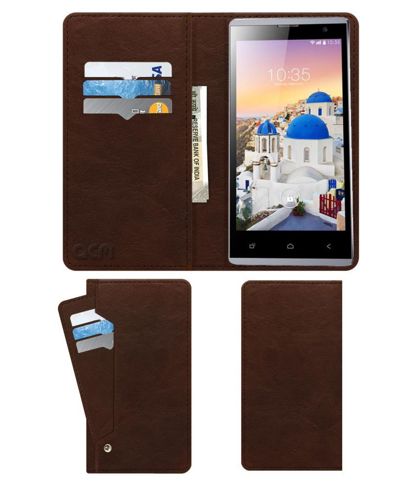 Zen Ultrafone 402 Style Pro Flip Cover by ACM - Brown Wallet Case,Can store 6 Card & Cash,Rich Brown