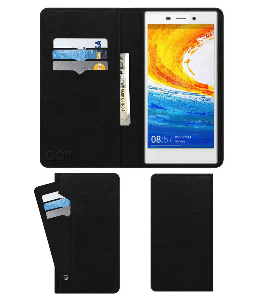 Gionee Elife E7 Flip Cover by ACM - Black Wallet Case,Can store 6 Card & Cash,Royal Black