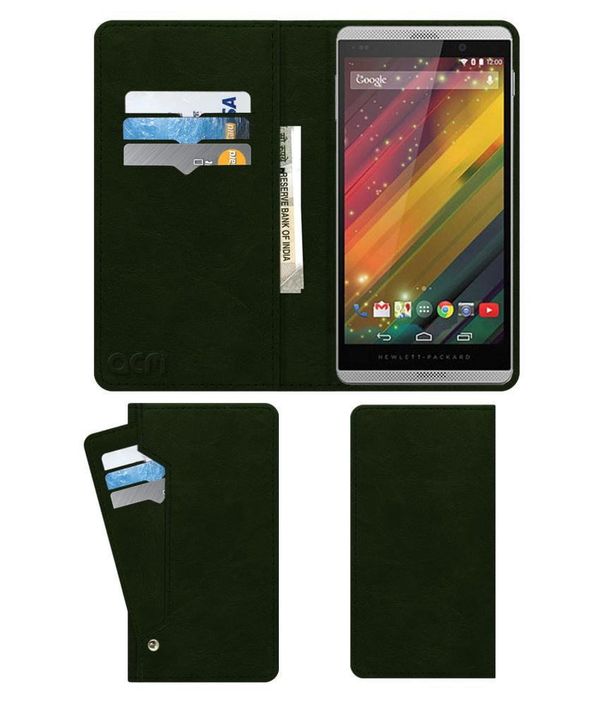 Hp Slate 6 Voicetab 2 Flip Cover by ACM - Green Wallet Case,Can store 6 Card & Cash,Teal Green